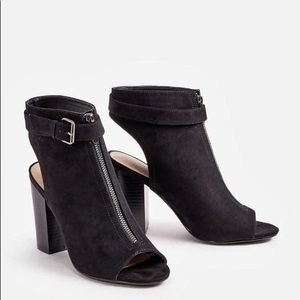 JUSTFAB. Preslay. Black Vegan Suede Booties/Shoes